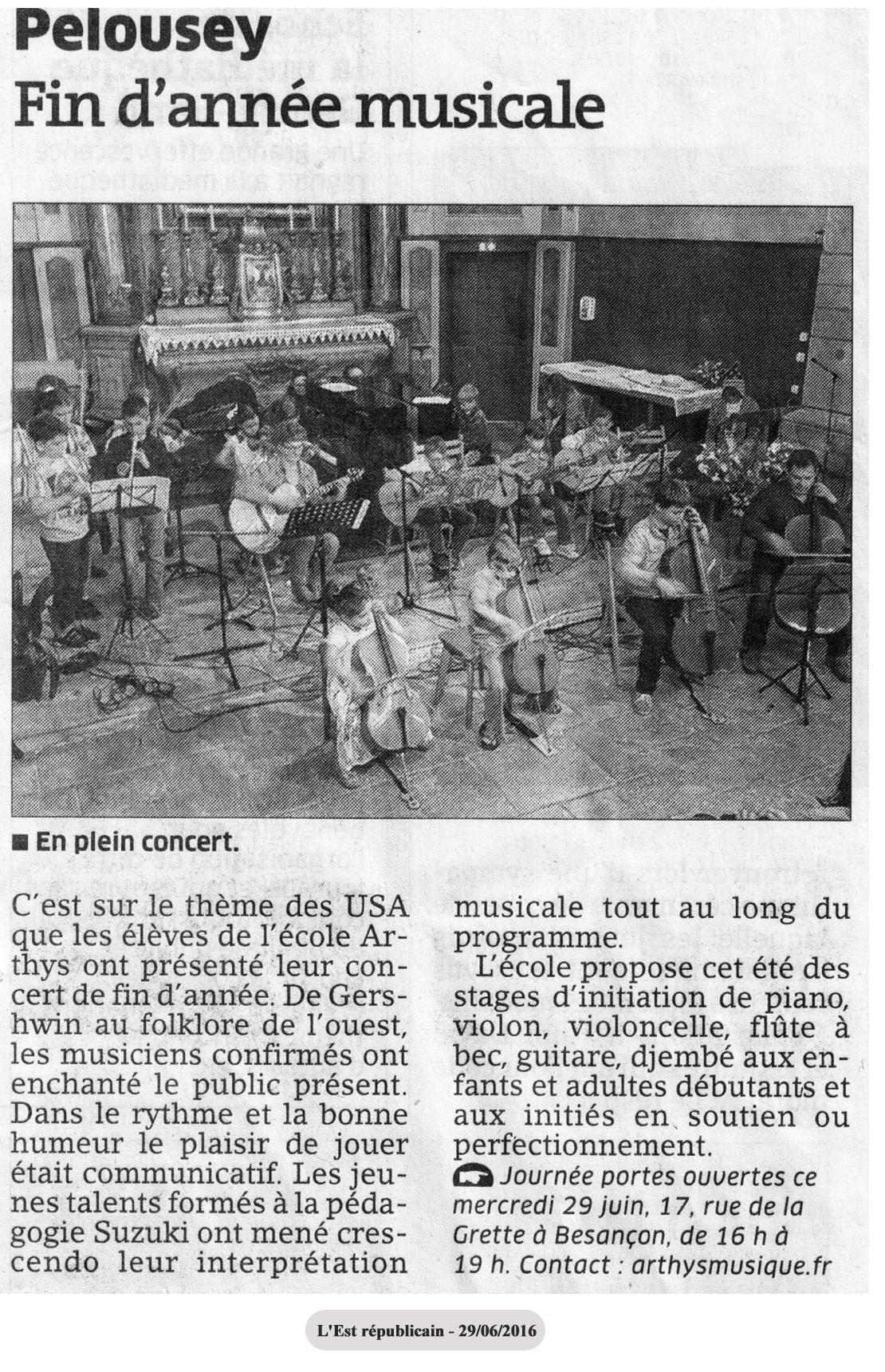 Arthys Ecole De Musique Pelousey Fin d 'Année Musicale 2016