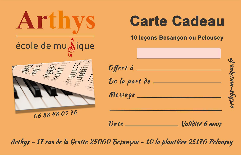 Carte cadeau de 10 leçons de l' école de musique Arthys à Besançon et Pelousey