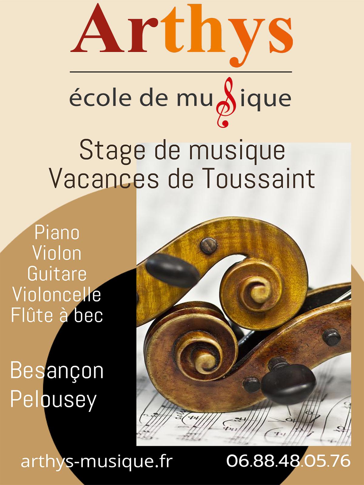 Stages aux vacances de la Toussaint à l 'école de musique Arthys à Besançon ou Pelousey